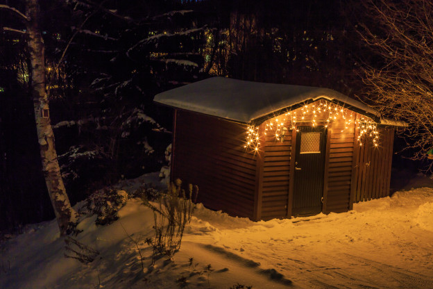 Christmas decor on a shed