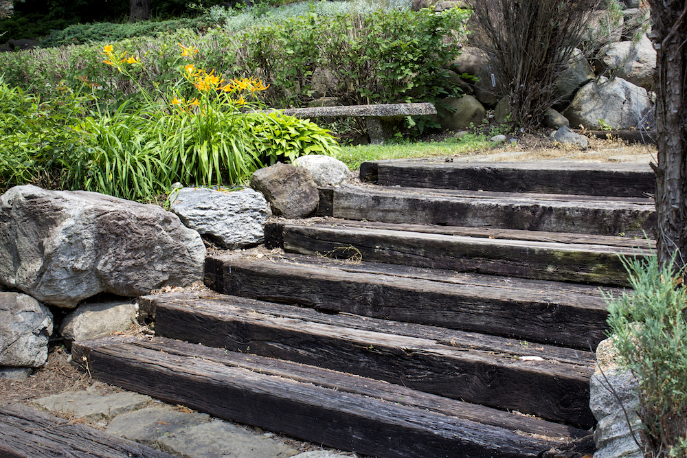 Garden stairs made from railway sleepers